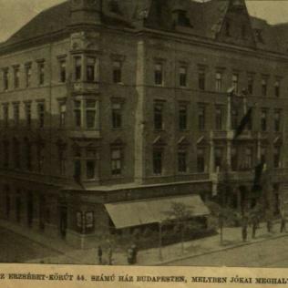 VU 1904.május 8. Erzsébet körúti ház gyászlobogókkal