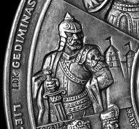 Gediminas - medál részlet, készítők Kalinauskas, Kalinauskaité