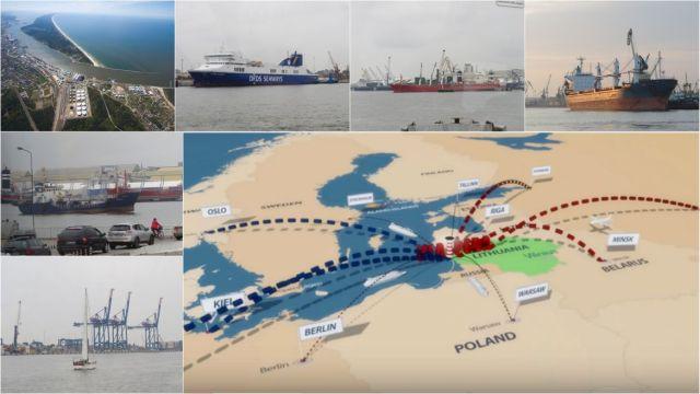 Klaipeda kikötő. kollázs