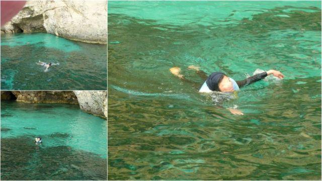 öböl-úszás, kollázs