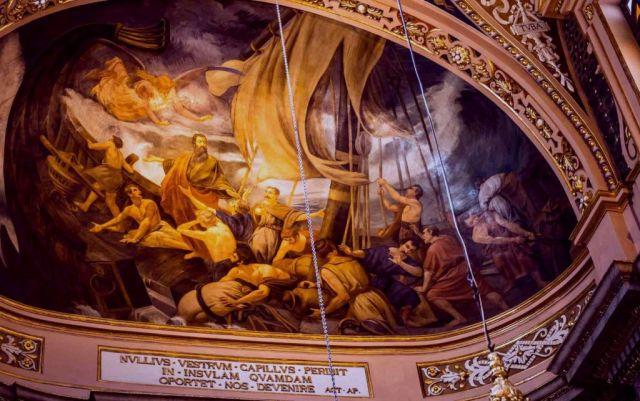 mennyezeti freskó, Szt.Pál hajótörése tmpl.-valletta-malta