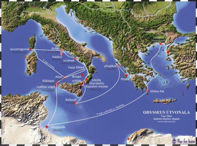 Odüsszeusz útvonala -odysseus.hu