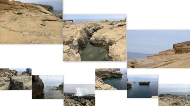 Sziklás partvonal, kollázs