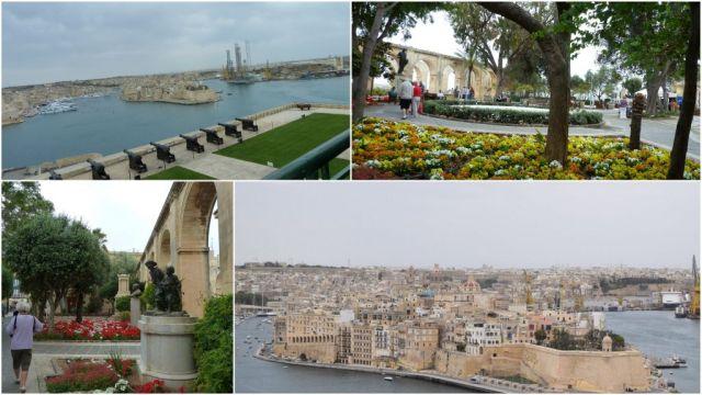 Valletta Barrakka kert és Nagy Kikötő, kollázs