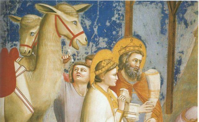 Giotto - Háromkirályok imádása, részlet 1