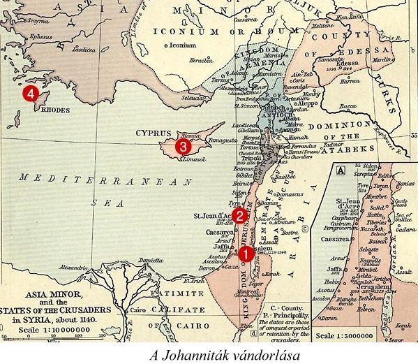 Johanniták vándorlása a muszlim ellentámadás után, Crusader-states