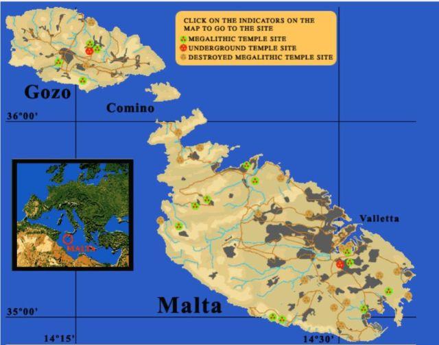 Málta megalitikus emlékhelyek térkép