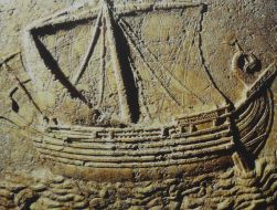 Phoenician_ship, carved on a sarcophagus, 2nd century AD