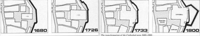 A Mdinai katedrális együttes átalakulásai, 1680-1800. -kollázs