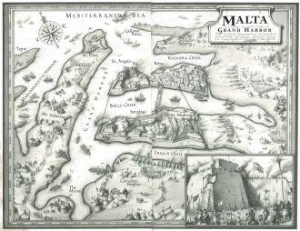 Malta map by M.Gellatly, hand drawn