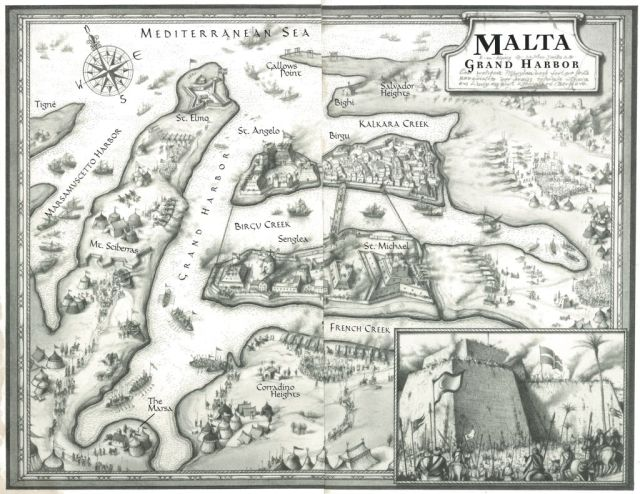 Malta map by M.Gellatly, hand drawn