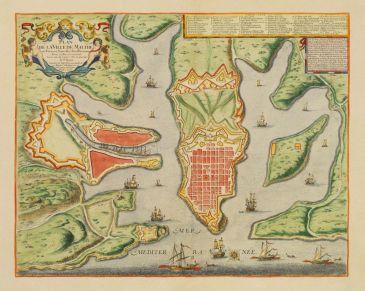 1723 GuillaumeDanetPlanDeLaVilleDeMalthesesForts,