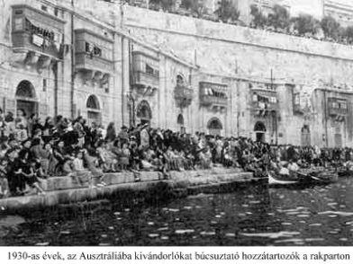 1930's , Ausztráliába kivándorlókat búcsúztató hozzátartozók a rakparton