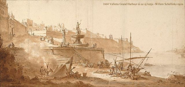 Valletta Grand Harbour With Fontana Nuova, 1664- Willem Schellinks