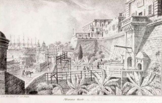 Valletta, Marina gate- Charles Frederick de Brocktorff rajza