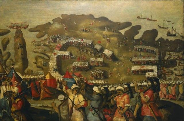 Die Belagerung von Malta- Ankunft der osmanischen Flotte (Matteo Perez d'Aleccio)