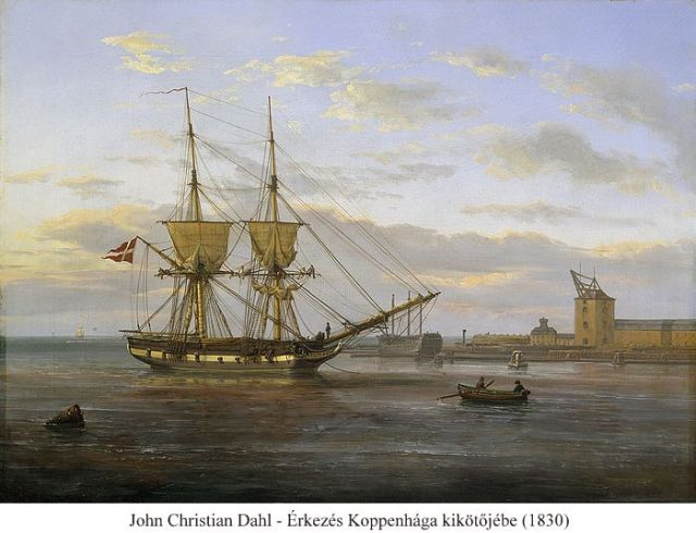 Entrance_to_the_Port_of_Copenhagen_with_the_Masting_Sheer_seen_to_the_right_1830 - John Christian Dahl, Thorvaldsen Museum, Koppenhága