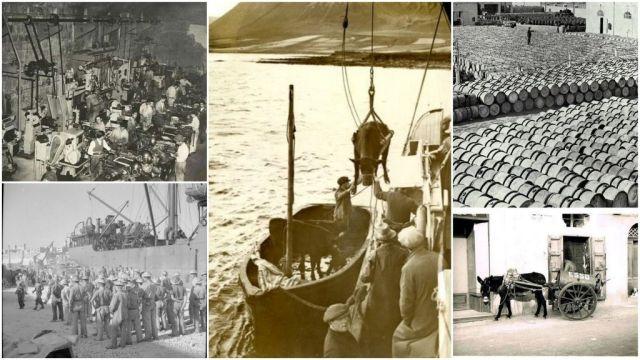 Kikötői árumozgatás- 20.sz. eleje, kollázs
