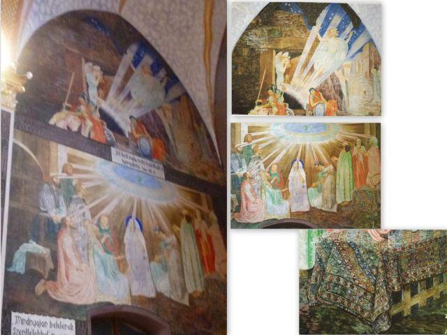 Szent Erzsébet templom, Jézus feltámadása, Szentlélek eljövetele kollázs
