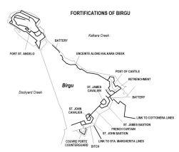 Birgu -fortifications -map