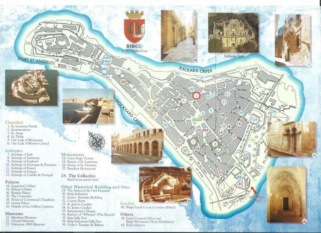 Birgu turista térképe