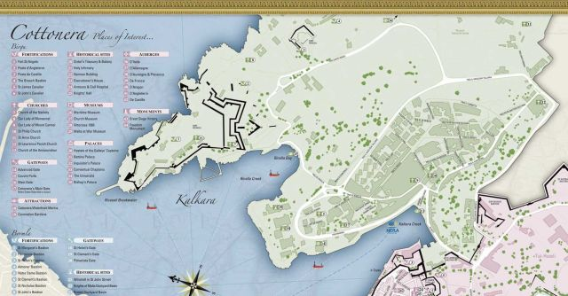 Cottonera map, Kalkara- és Rinella creek