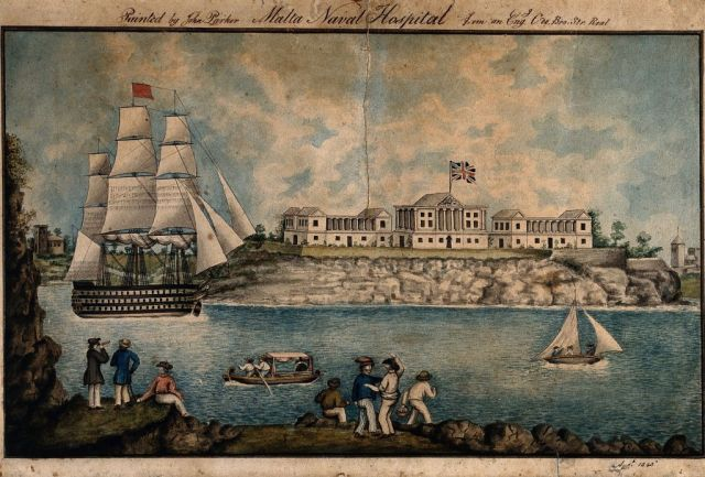 V0013896 Naval Hospital, Malta: Coloured pen and ink drawing by J. Parker, 1843
