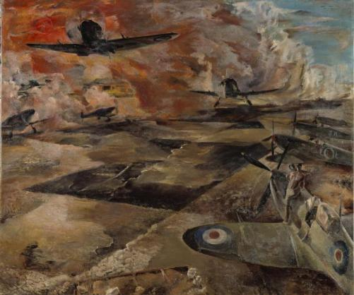 Artwork- Fighters take off from Luca_s bombed runway, by Leslie Cole 1943 war-artist