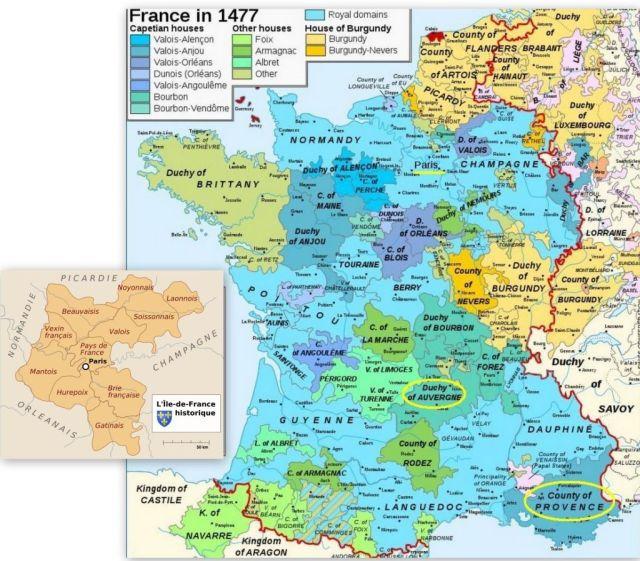 France, Auvergne és Provance - 1500-as évek, kollázs