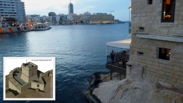 Sliema, St. Julian tower and Battery