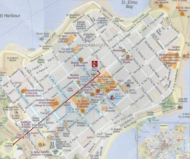 Valletta - belvárosi térkép