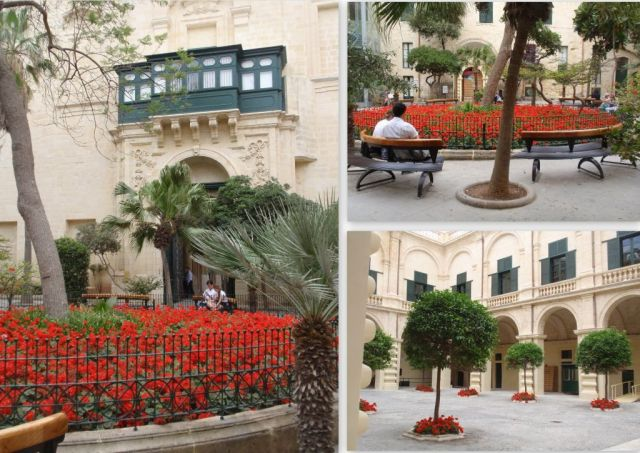 Valletta Nagymesteri palota, udvar park - kollázs