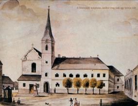 A ferencesek temploma, amikor még csak egy tornya volt