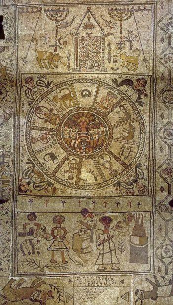 Beit_Alfa_Synagogue_Mosaic- Napisten, Izsák feláldozásával, főhajó Fussboden, Izrael, 6.század