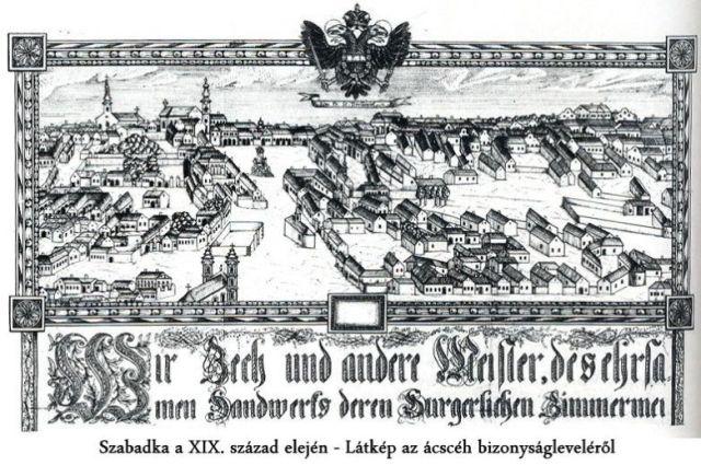 Szabadka a XIX század elején - Látkép az ácscéh bizonyságleveléről