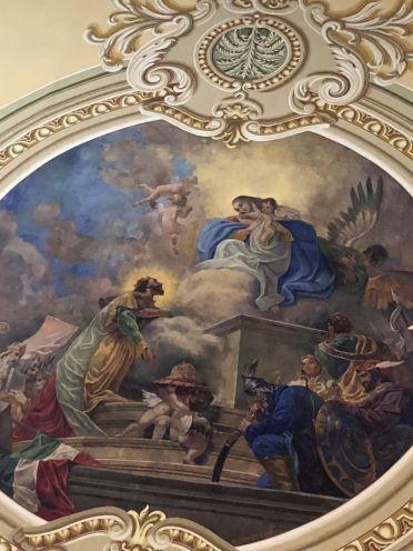 Budafok 156 Szt. Lipót plébániatemplom, Szt István felajánlja koronáját freskó