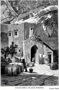 Sziklába vájt pince 1887- Feszty Árpád rajz- FSZEK Budapest gyűjtemény