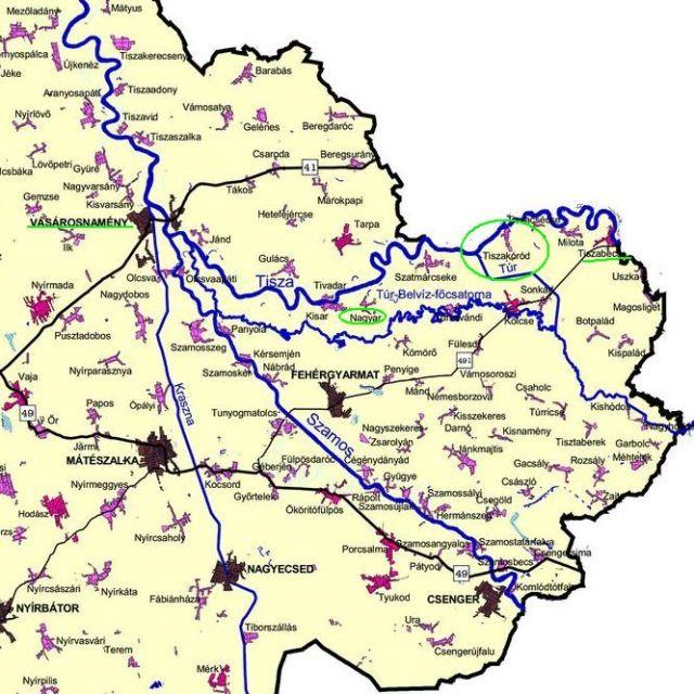 Szabolcs- Szatmár- Bereg megye, Tisza- Túr szakasz Tiszabecs és Vásárosnamény között