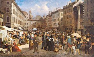 Marché sur la place du Molard en 1843 - Henri Germain Lacombe