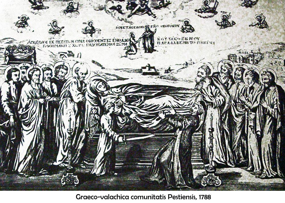Rézmetszet, pesti görög egyházközség alapítása