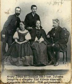 Arany Julianna eljegyzési kép 1863 , Országh Antal- Arany János és családja, Julianna mögötte Széll Kálmán, PIM